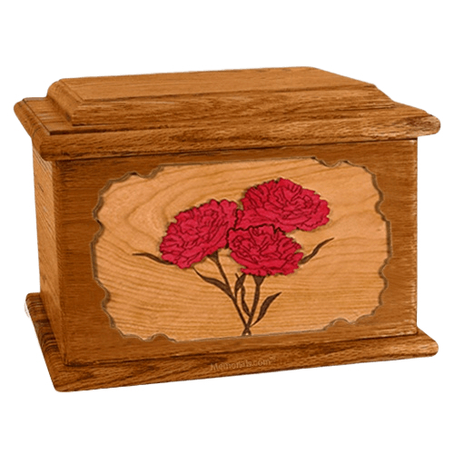 Carnation Mahogany Memory Chest Cremation Urn