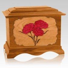 Carnation Mahogany Cremation Urn