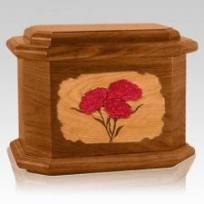 Carnation Mahogany Octagon Cremation Urn