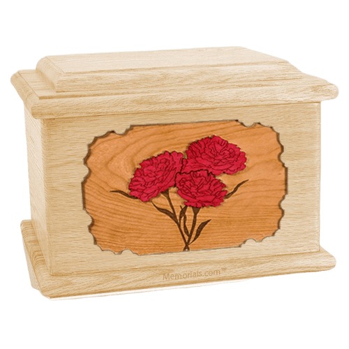 Carnation Maple Memory Chest Cremation Urn