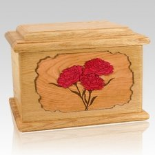 Carnation Oak Memory Chest Cremation Urn