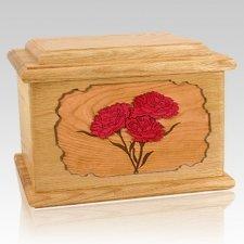 Carnation Oak Memory Chest Cremation Urn