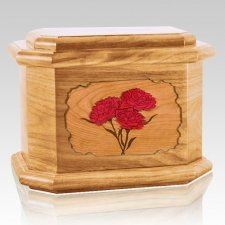 Carnation Oak Octagon Cremation Urn