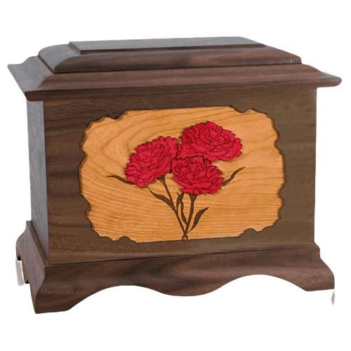 Carnation Walnut Cremation Urn