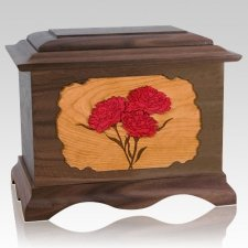 Carnation Wood Cremation Urns