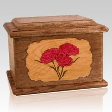 Carnation Walnut Memory Chest Cremation Urn