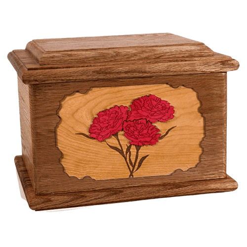 Carnation Walnut Memory Chest Cremation Urn