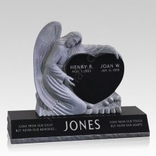 Carved Angel Upright Headstone