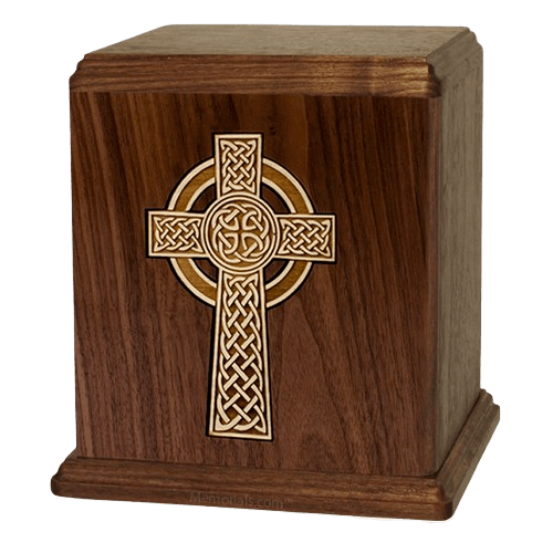 Celtic Cross Walnut Cremation Urn