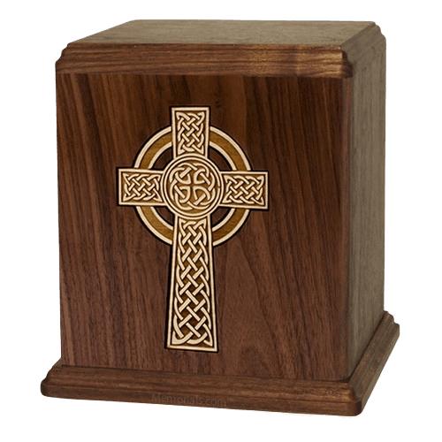 Celtic Cross Walnut Cremation Urn