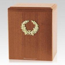 Champion Wreath Light Cherry Cremation Urn