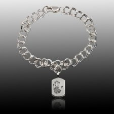 Charm 14k White Gold Cremation Print Bracelet