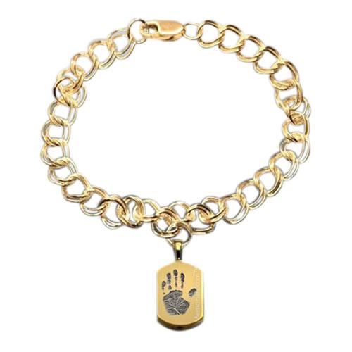Charm 14k Gold Cremation Print Bracelet