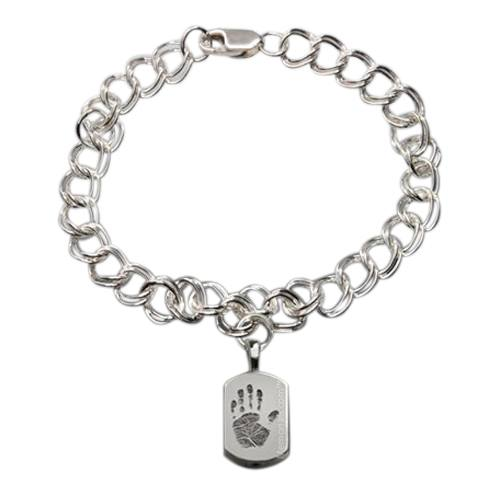 Charm Sterling Cremation Print Bracelet