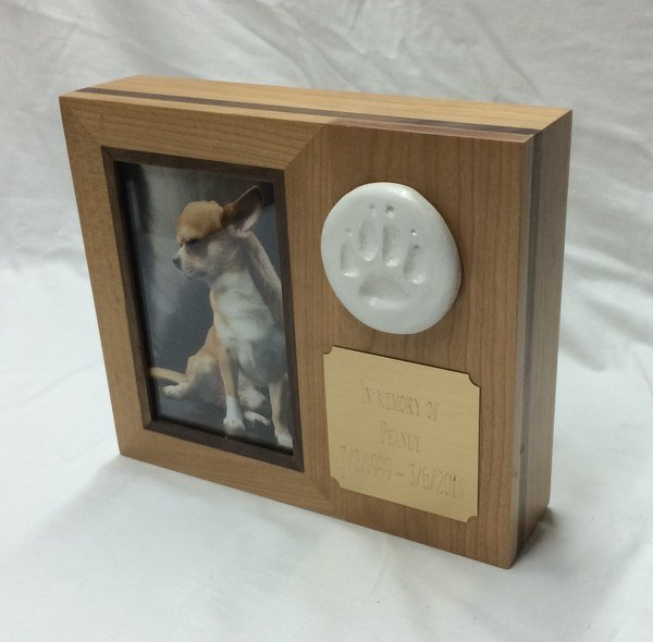 Paw Print Horizontal Cherry Photo Small Pet Urn