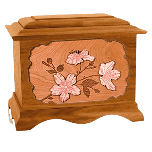 Cherry Blossom Mahogany Cremation Urn