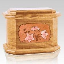 Cherry Blossom Oak Octagon Cremation Urn