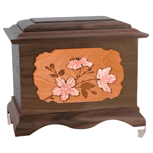 Cherry Blossom Walnut Cremation Urn