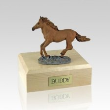 Chesnut Running Small Horse Cremation Urn