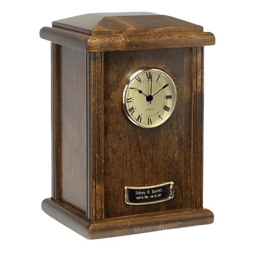 Chestnut Clock Cremation Urn