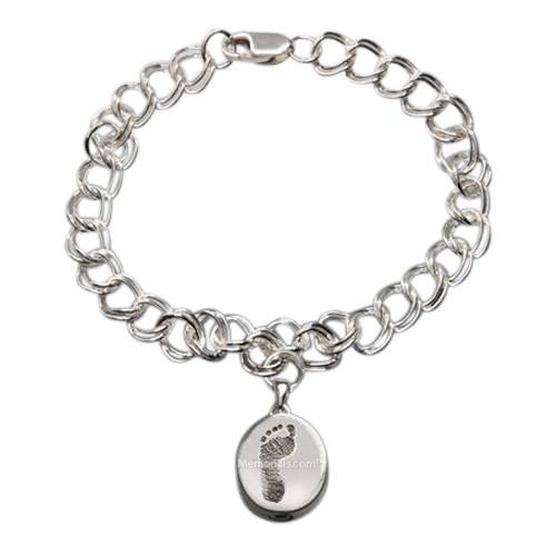 Chic 14k White Gold Cremation Print Bracelet