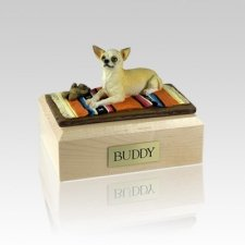 Chihuahua White & Tan Lying Medium Dog Urn