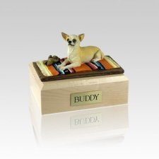 Chihuahua White & Tan Lying Small Dog Urn