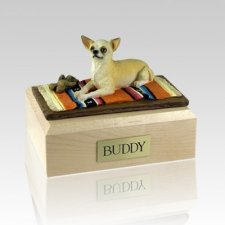 Chihuahua White & Tan Lying Dog Urns