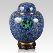 China Blue & Green Cloisonne Keepsake Cremation Urns