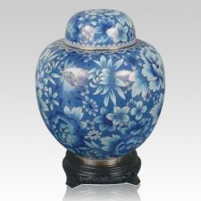 China Caribbean Flowers Cloisonne Keepsake Cremation Urns