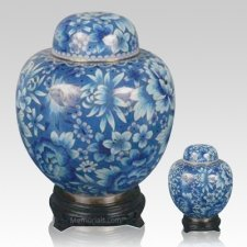 Oriental Light Blue Cloisonne Cremation Urns