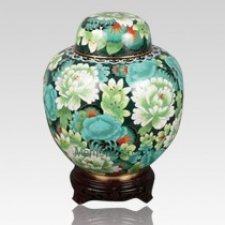 China Green Flowers Cloisonne Keepsake Cremation Urns