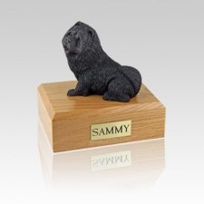 Chow Black Sitting Small Dog Urn