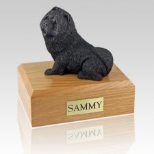 Chow Black Sitting Dog Urns