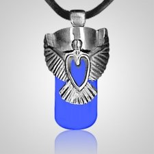 Angel Heart Blue Cremation Necklace
