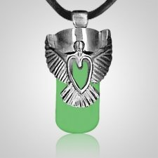 Angel Heart Green Cremation Necklace