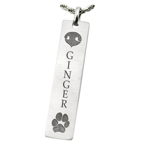 Classic Vertical Paw & Nose Sterling  Keepsake