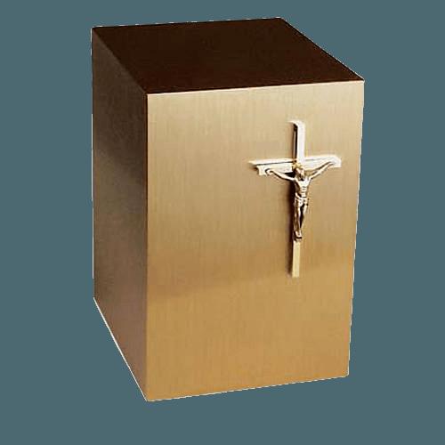Classic Crucifix Bronze Cremation Urn