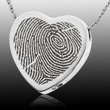Classic Heart 14k White Gold Cremation Print Keepsake