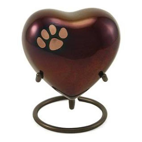 Classic Paw Print Heart Raku Urn