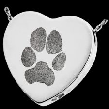 Classic Paw Heart Sterling Print Cremation Keepsake