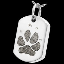 Classic Paw Sterling Tag Print Cremation Keepsake