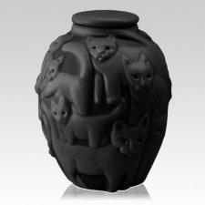 Clever Cat Black Cremation Urn