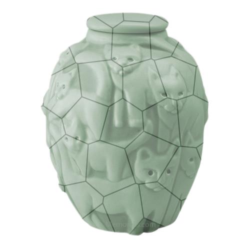 Clever Cat Celadon Crackle Cremation Urn