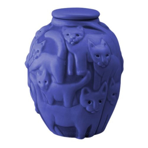 Clever Cat Cobalt Cremation Urn
