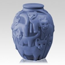 Clever Cat Periwinkle Cremation Urn