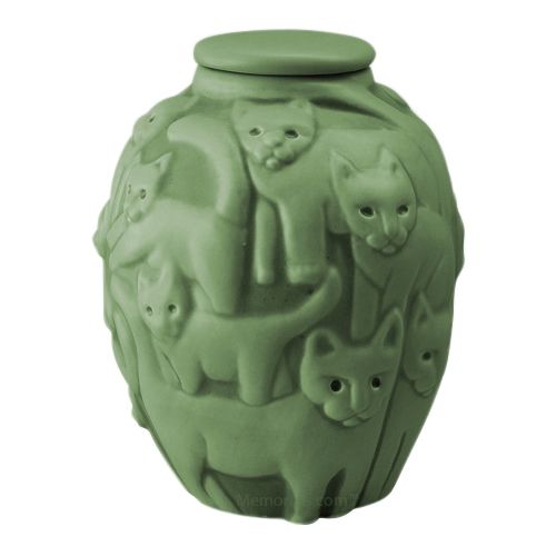 Clever Cat Pippin Green Cremation Urn