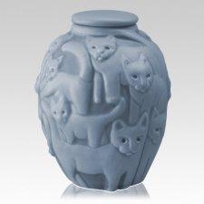 Clever Cat Sky Blue Cremation Urn