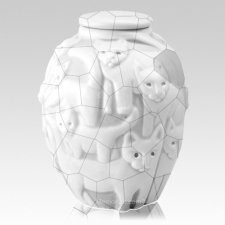 Clever Cat White Crackle Cremation Urn