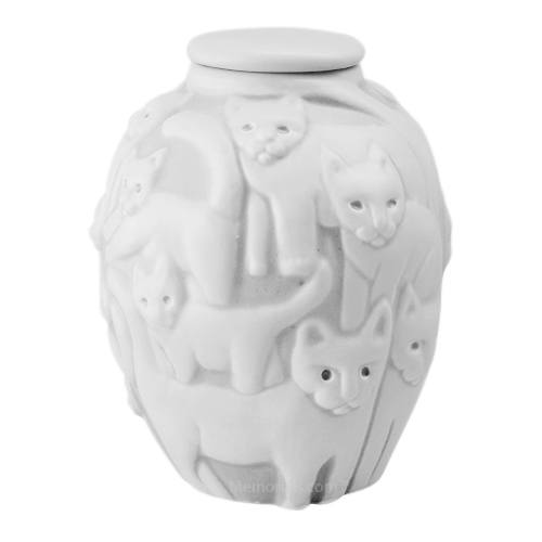Clever Cat White Cremation Urn